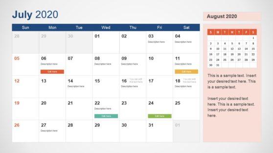 2020 Calendar PowerPoint July