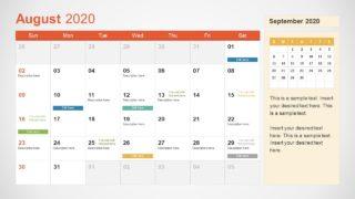 August Calendar PowerPoint Template for 2020