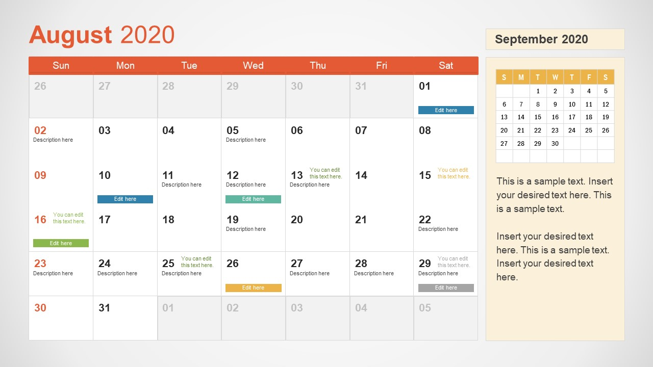 August Calendar PowerPoint Template for 2020