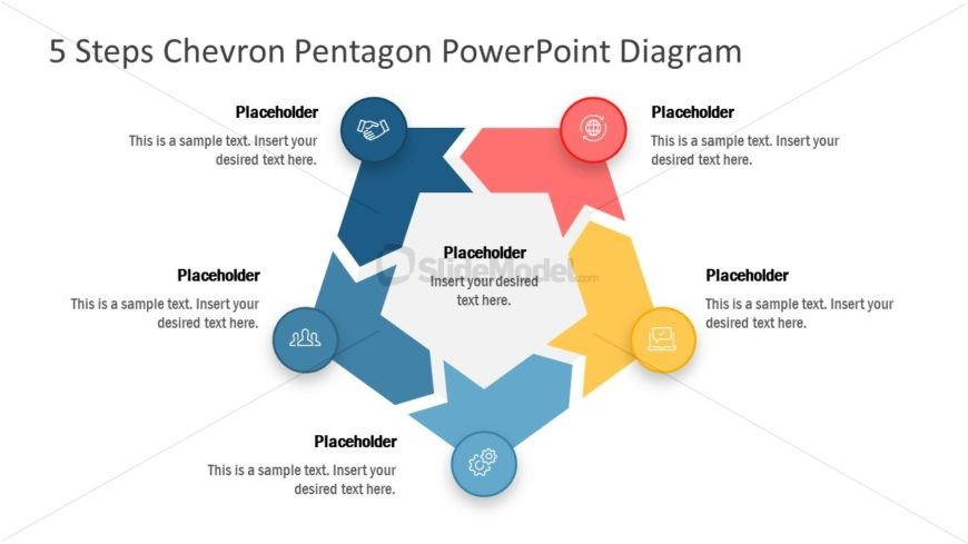 Pentagon PowerPoint 5 Stages