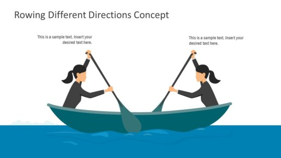 Rowing Different Direction PowerPoint