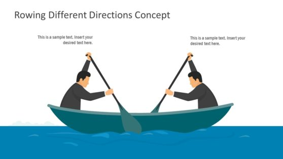 PowerPoint Rowing Opposite Direction Template