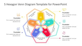 5 Hexagon Venn Diagram PowerPoint Template