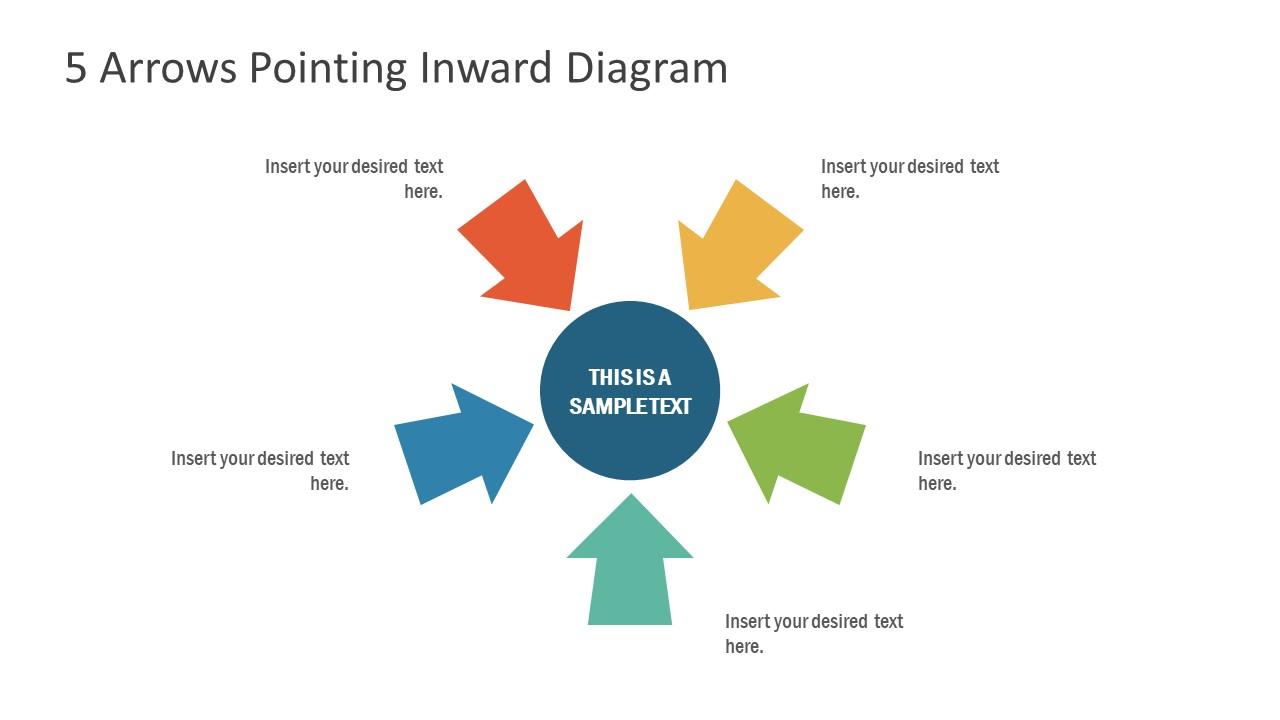 Inward Arrows 5 Steps Diagram