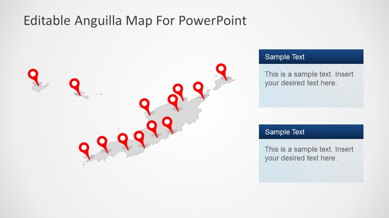 Flat Anguilla PowerPoint Map
