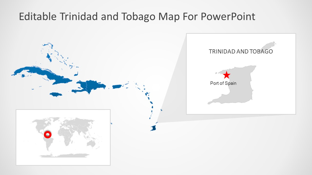 Silhouette Map of Trinidad and Tobago