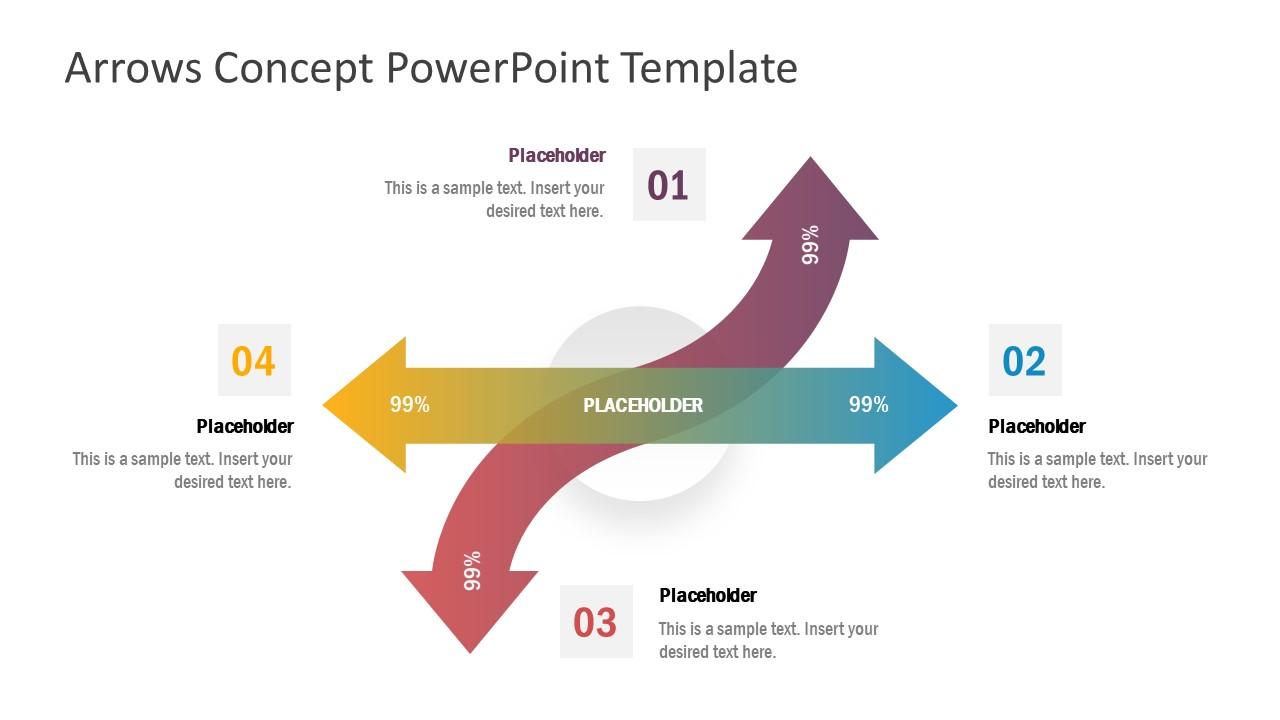PPT 4 Steps Arrow Matrix