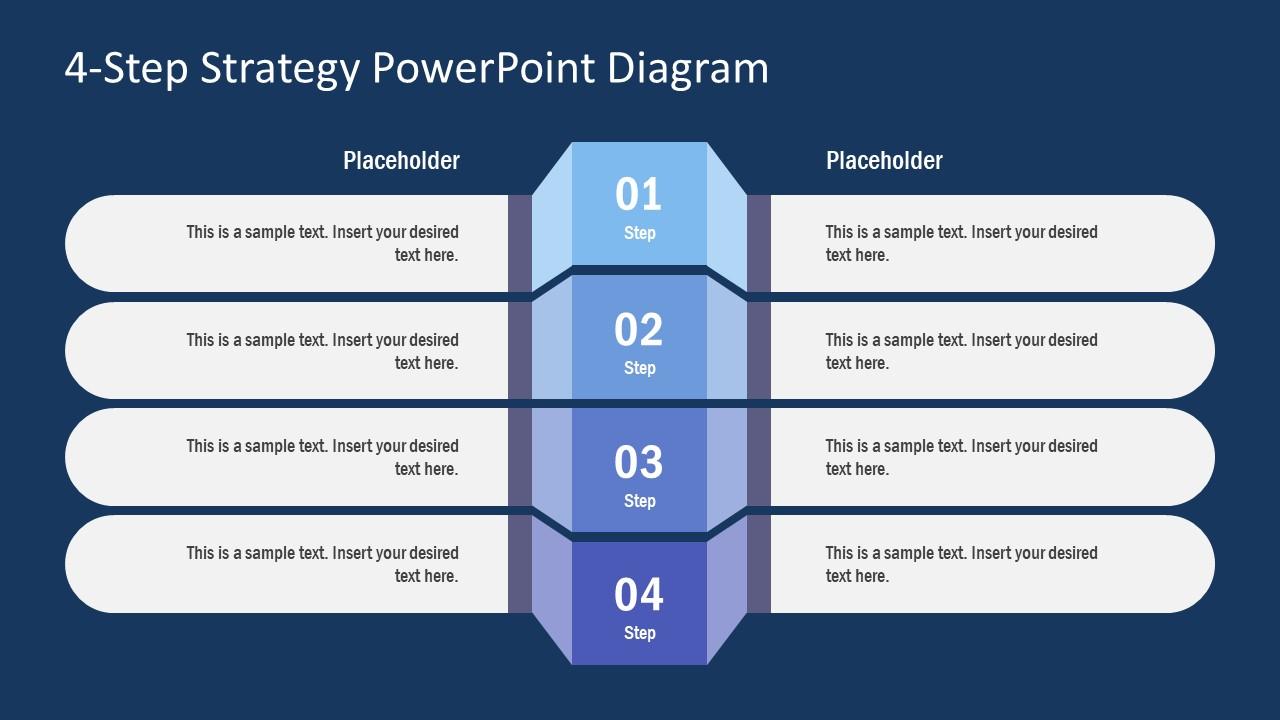 Flat PowerPoint 4 Steps Diagram