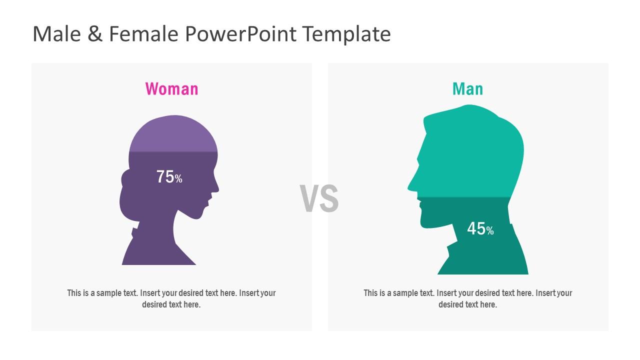 Flat PowerPoint Male Female Diagram
