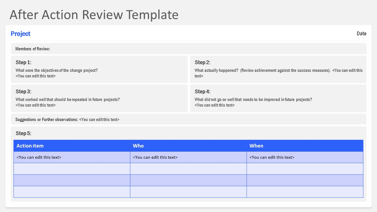 Slide Layout for After Action Review