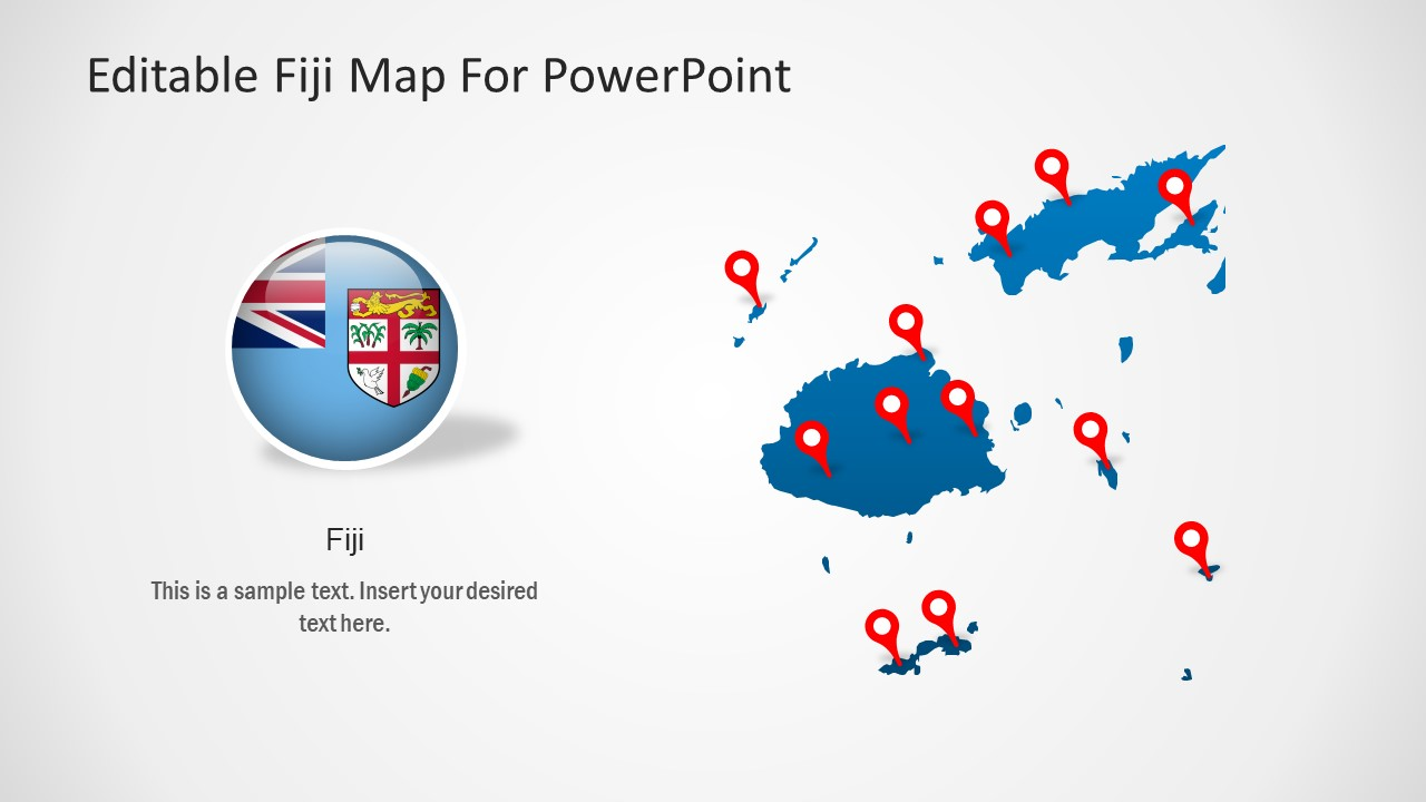 Map and Flag Fiji Template