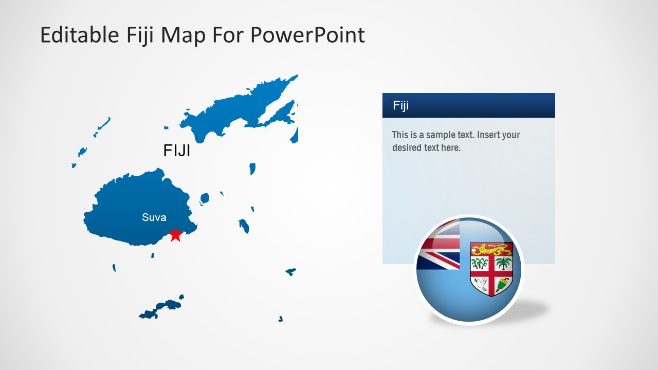 Blue Silhouette Map of Fiji