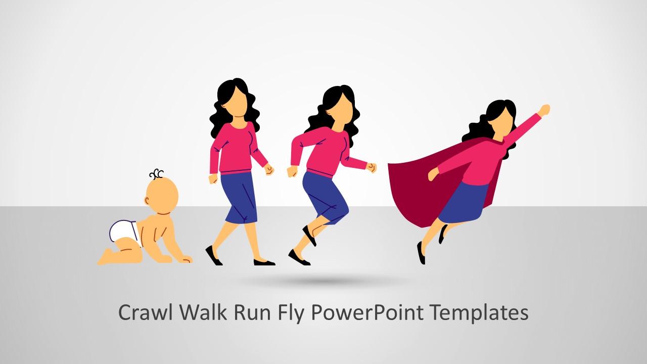 Woman Crawl Walk Run Fly Illustration