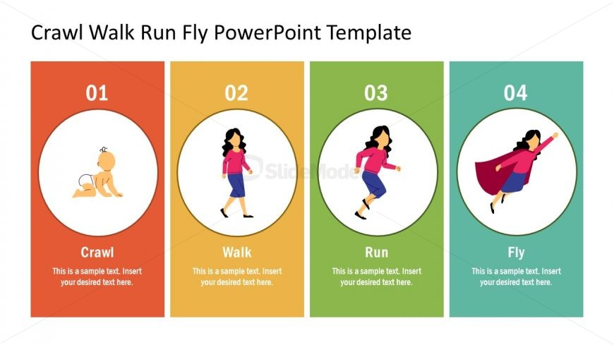 PowerPoint Diagram Crawl Walk Run Fly