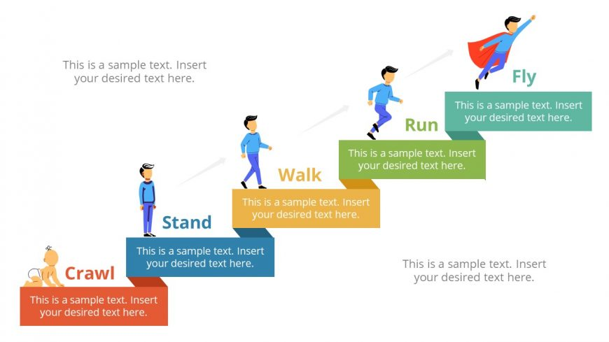 5 Steps PowerPoint Diagram Man Illustrations