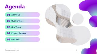 Business Agenda Presentation Purple Aesthetic PPT