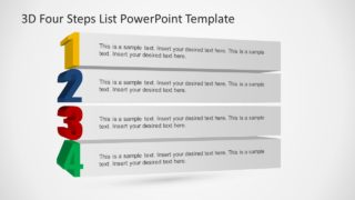 3D Four Steps List PowerPoint Template