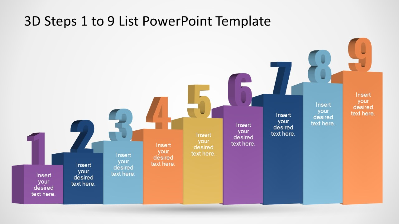 9 Steps PowerPoint Stairs Timeline Template