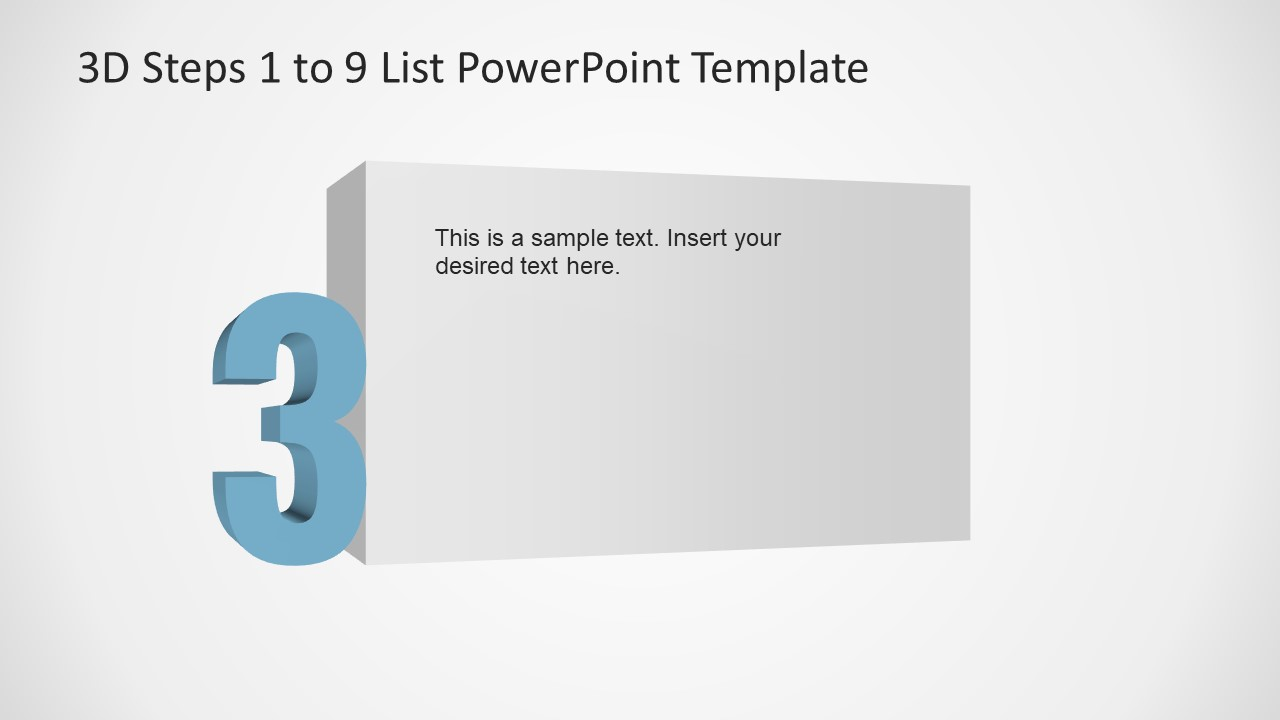 PowerPoint Number 3 List 3D Template