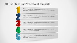 3D Five Steps List PowerPoint Template
