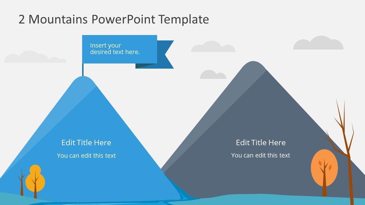 Goal Achievement PowerPoint Mountain Shapes