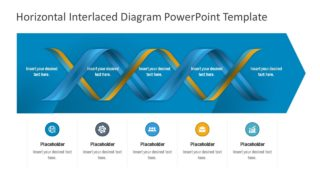 5-Step Horizontal Interlaced Diagram PowerPoint Template