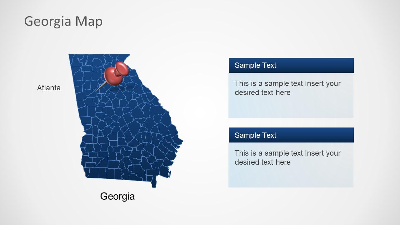 Flat Silhouette Map of Georgia Atlanta