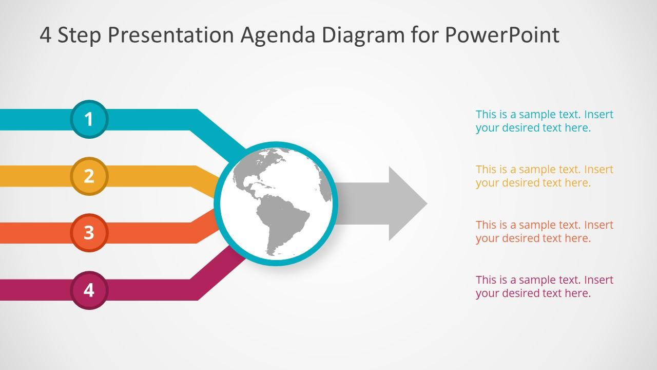Flat 4 Agenda PowerPoint Design