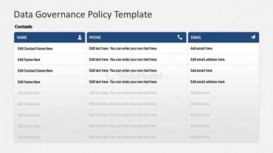 Contact List for Governance Templates