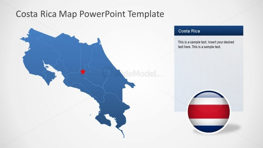 Flat Map Template for Costa Rica