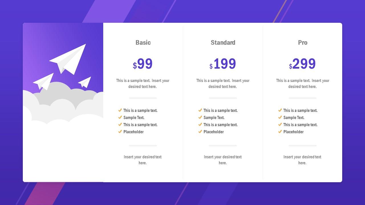 Pricing and Plans Slide Design