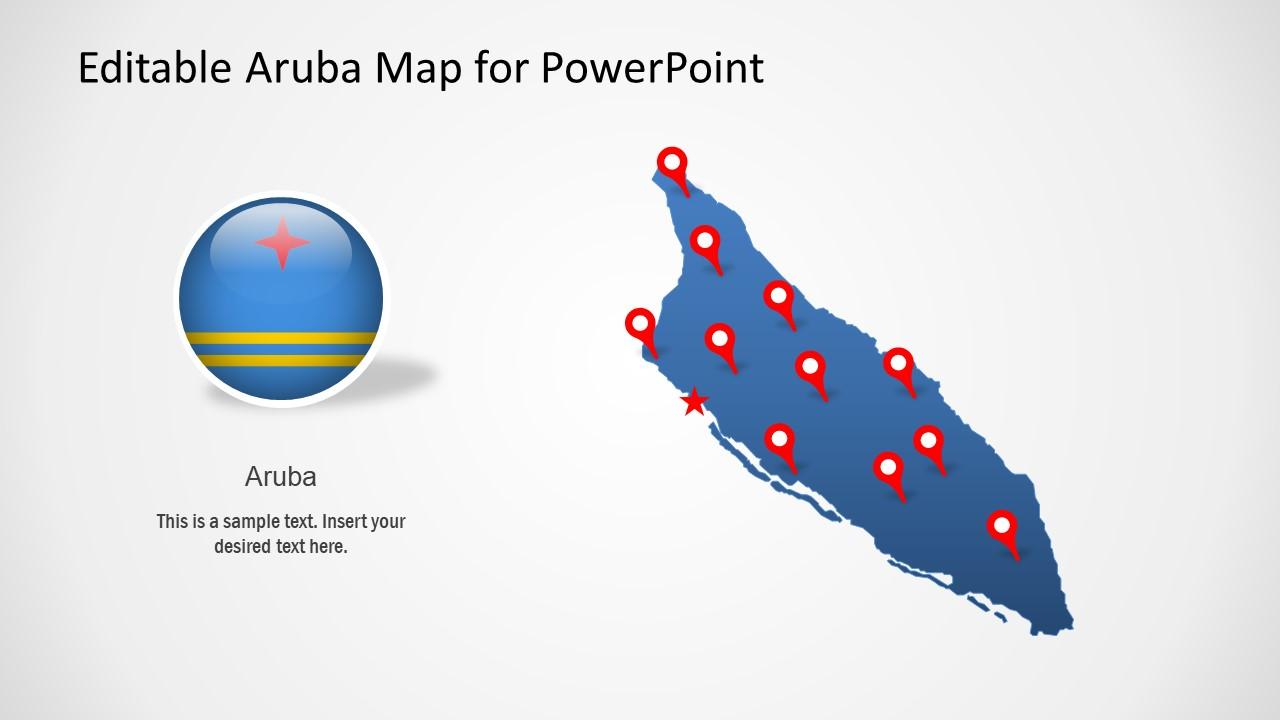 Flat Map of Aruba PowerPoint