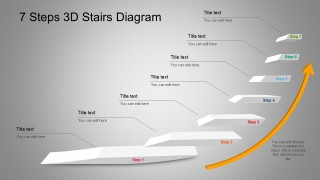 7 Steps 3D Stairs Diagram For PowerPoint With Arrow