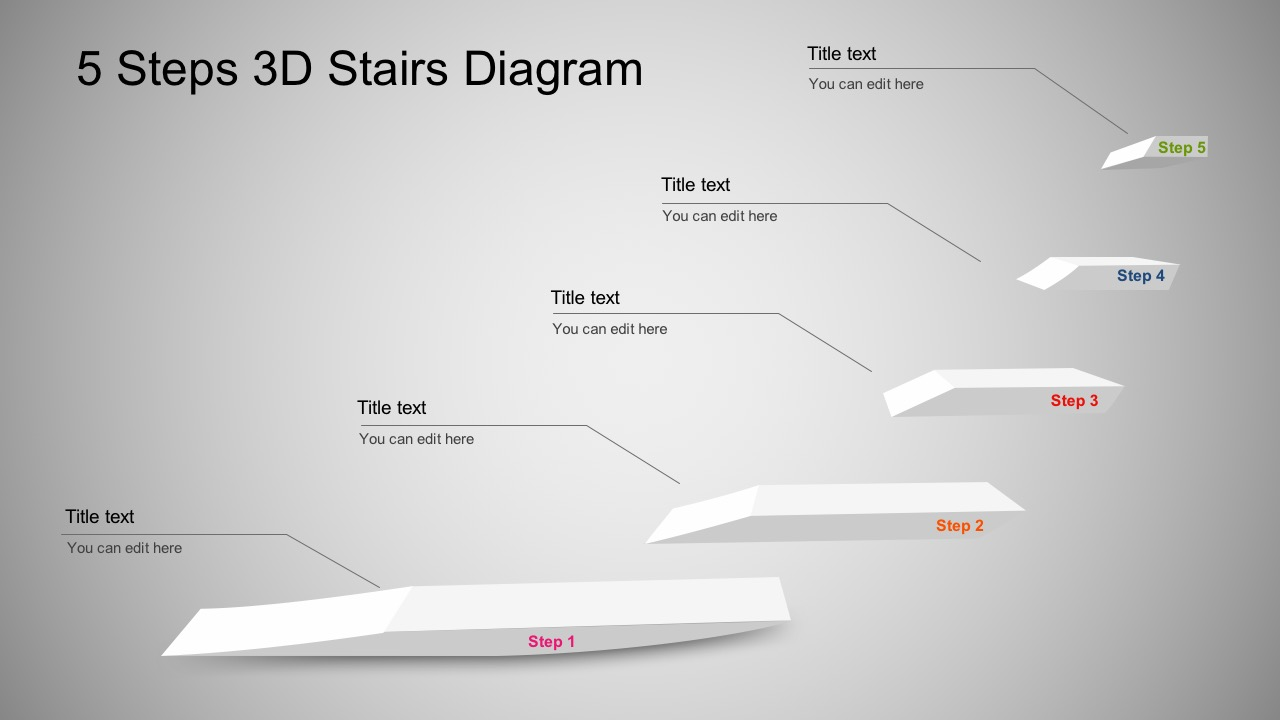 3D Stairs Steps Diagram PowerPoint Templates