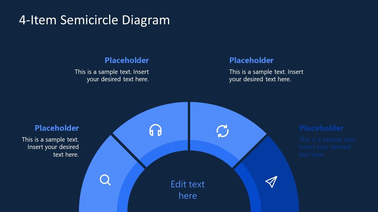 4 Item Semi-Circle Diagram PowerPoint