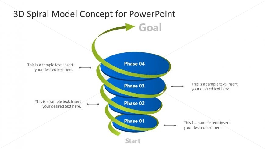 3D Spiral 4 Phase PowerPoint Model