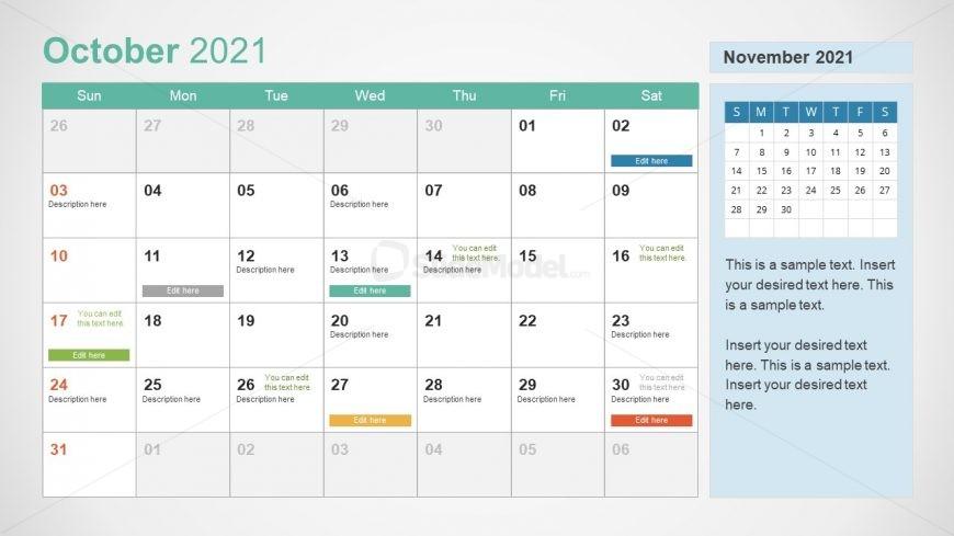 October 2021 Calendar Template Slide