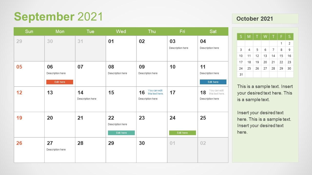 September 2021 Calendar Template Slide