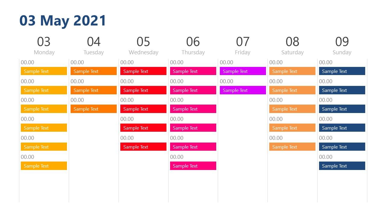 Schedule of Day View Calendar PowerPoint