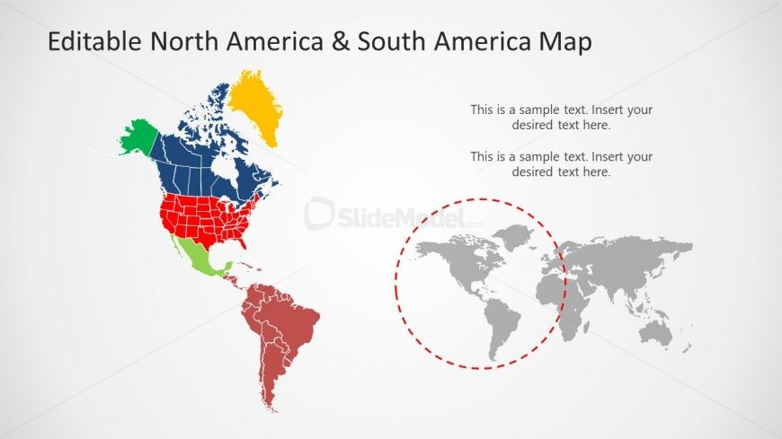 Editable Color Coded Map of the Americas