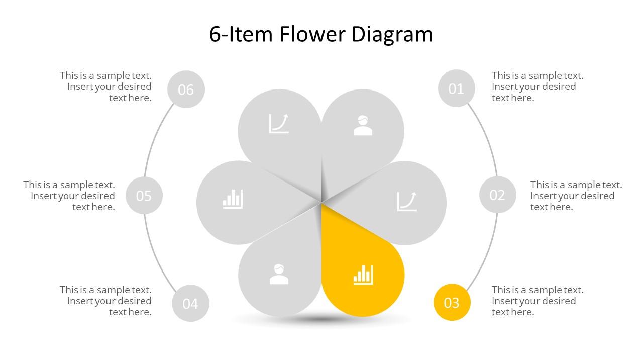 Editable PowerPoint Step 3 Flower Diagram