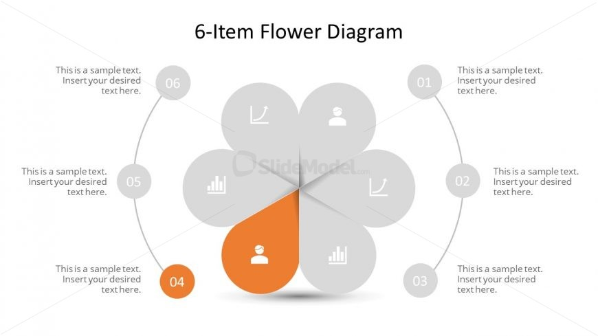 Editable PowerPoint Step 4 Flower Diagram