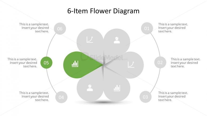 Editable PowerPoint Step 5 Flower Diagram