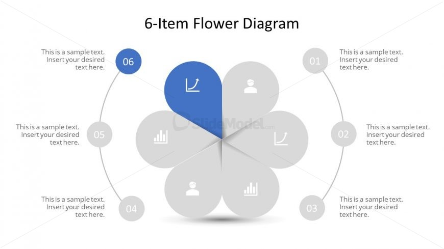 Editable PowerPoint Step 6 Flower Diagram