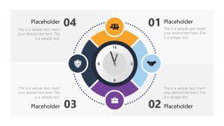 PPT Analog Clock 4 Steps Diagram