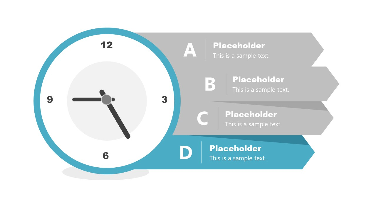 PowerPoint 4 Steps Clock Shaped Diagram