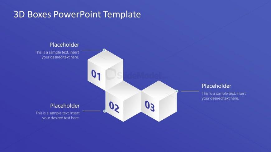 PowerPoint 3 3D Boxes Diagram Template