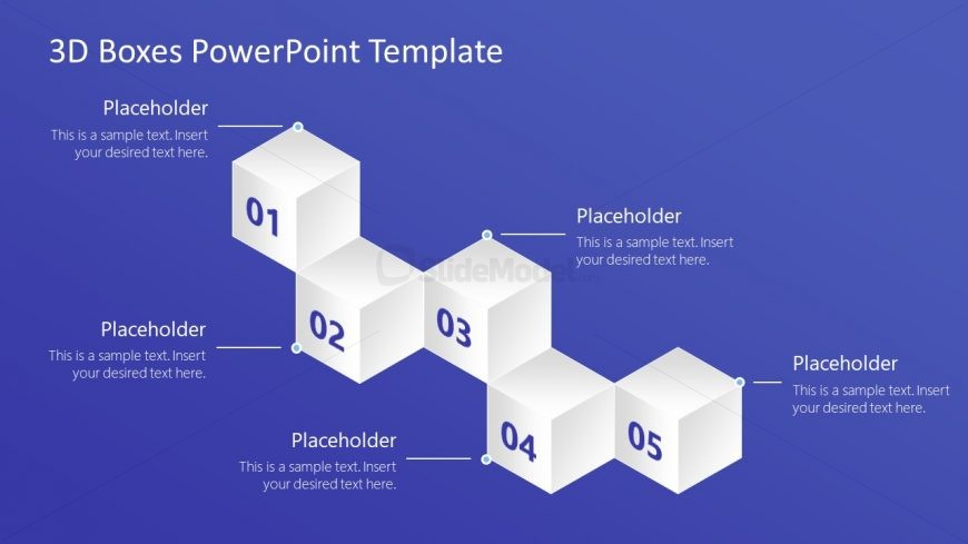 PowerPoint 5 3D Boxes Diagram Template