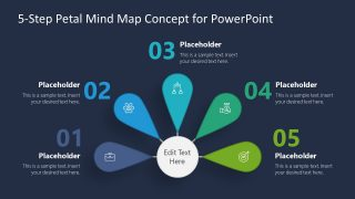 PowerPoint 5 Steps Diagram in Semi Circle