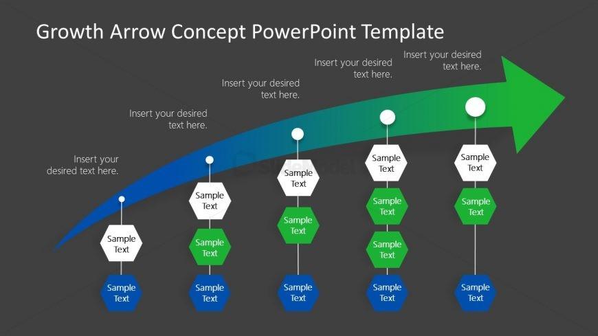 Presentation of 5 Steps Growth Arrow